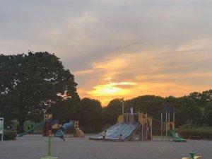 公園での夕焼け